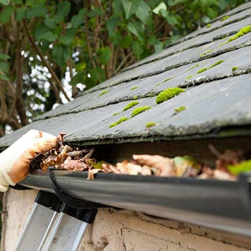 a man removing dead leaves from roofing gutters